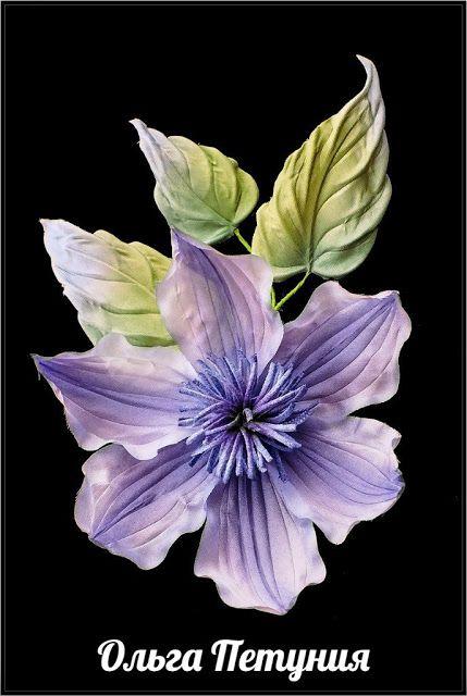 из шёлка:  Клематис нежный цветок-брошь ручной работы.   Цве...