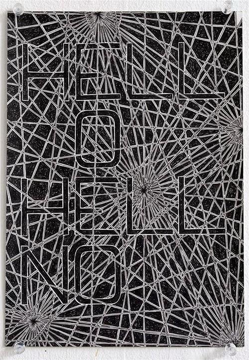 Koen Taselaar Hell O Hell No, 2014 ink on printed paper