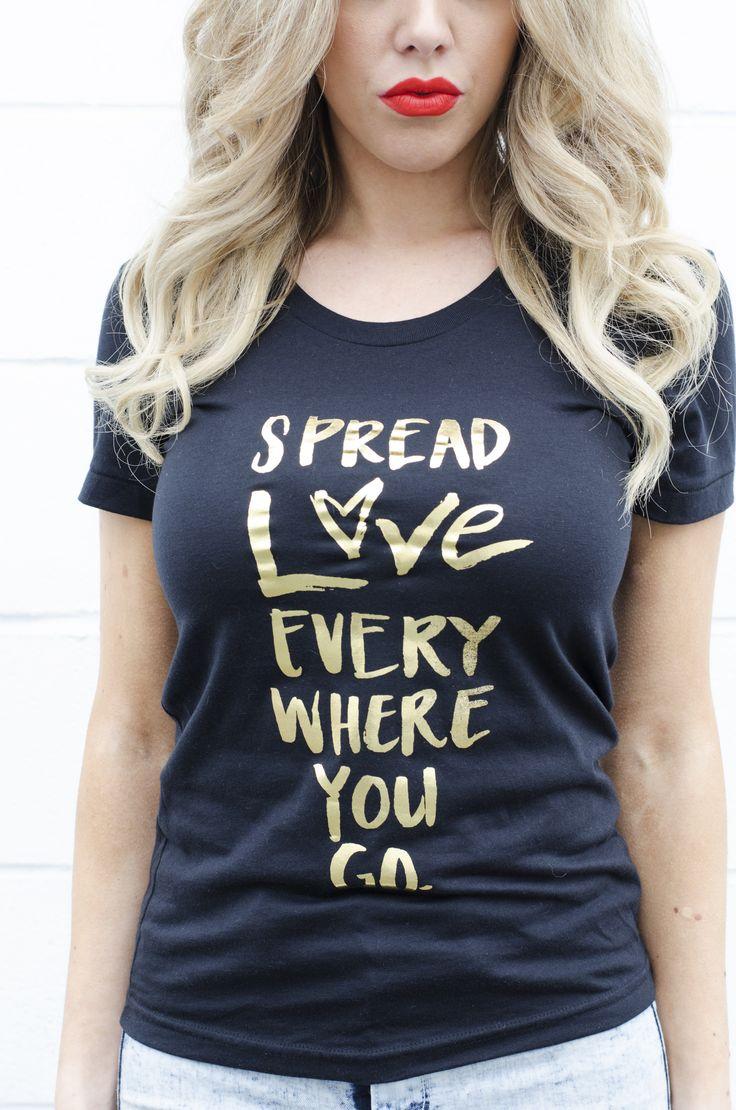Spread Love Everywhere You Go Tee - Gold/Black