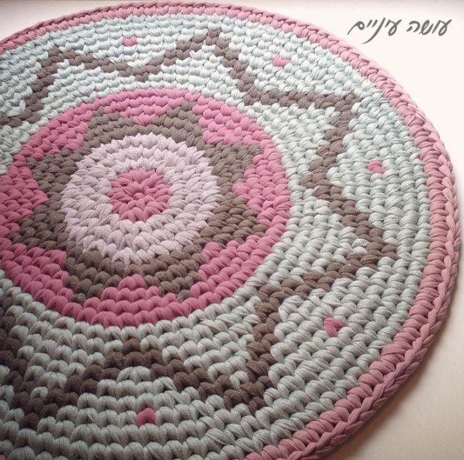 Neulottuja kuvakudos matto - tekemällä silmä || T-paita lanka / Trapillo - Tapestry Virkattu matto