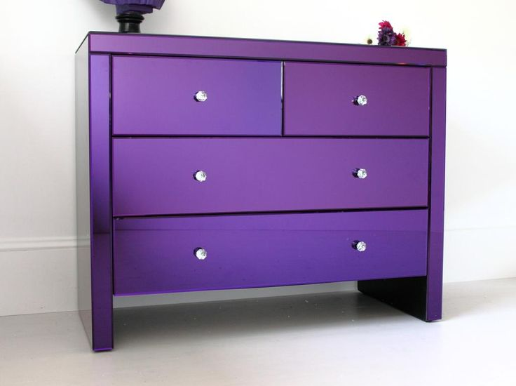 Find This Pin And More On Purpleness Purple Mirrored Chest Of Drawers Serenity Purple Mirrored Bedroom