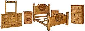 "King Texana Complete Bedroom Set Includes: - King Lasso Bed (CAM555): 81""W x 63""H x 92""D (Reg. $1,053) - Tonala Star Dresser w/Rope Edge & Mirror Frame (COM520R): 67""W x 87""H x 19""D (Reg. $1,006) - Tall 5-Drawer Dresser w/Rope Edge (COM112R): 34""W x 50""H x 19""D (Reg. $572) - Right Star Nightstand w/Rope Edge (BUR501R): 20""W x 28""H x 16""D (Reg. $194) - Left Star Nightstand w/Rope Edge (BUR502R): 20""W x 28""H x 16""D (Reg. $194)"
