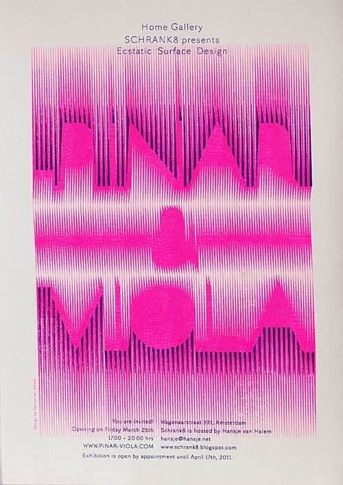 """// I don't like it when designers use experimental type for unfamiliar words because it makes you second guess yourself and dwell too long on trying to decipher it. (This really does say """"Pinar & Viola"""") Regardless, This is pretty cool."""
