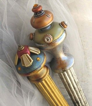 Isabella Finials and Painted Poles - eclectic - curtain poles - san francisco - Susan Goldstick, Inc.