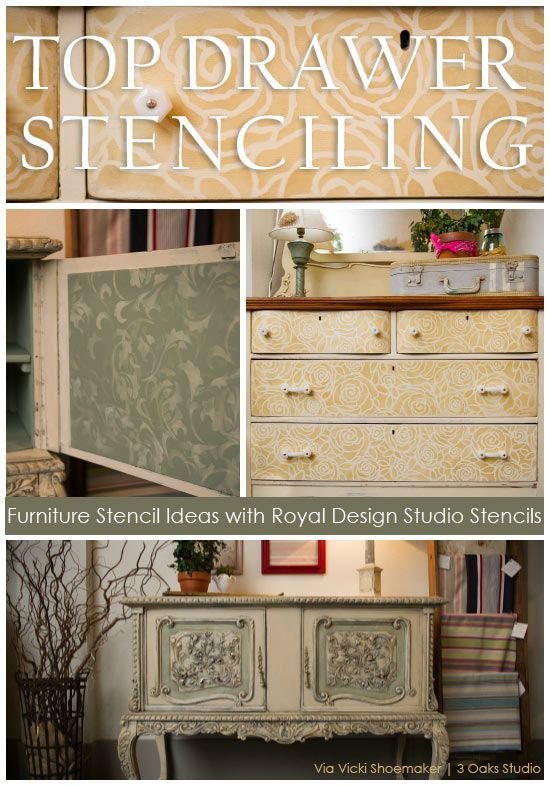 Furniture Stenciling Ideas with Chalk Paint® decorative paint by Annie Sloan stockists Royal Design Studio and 3 Oaks Studio on the Stencil Ideas blog
