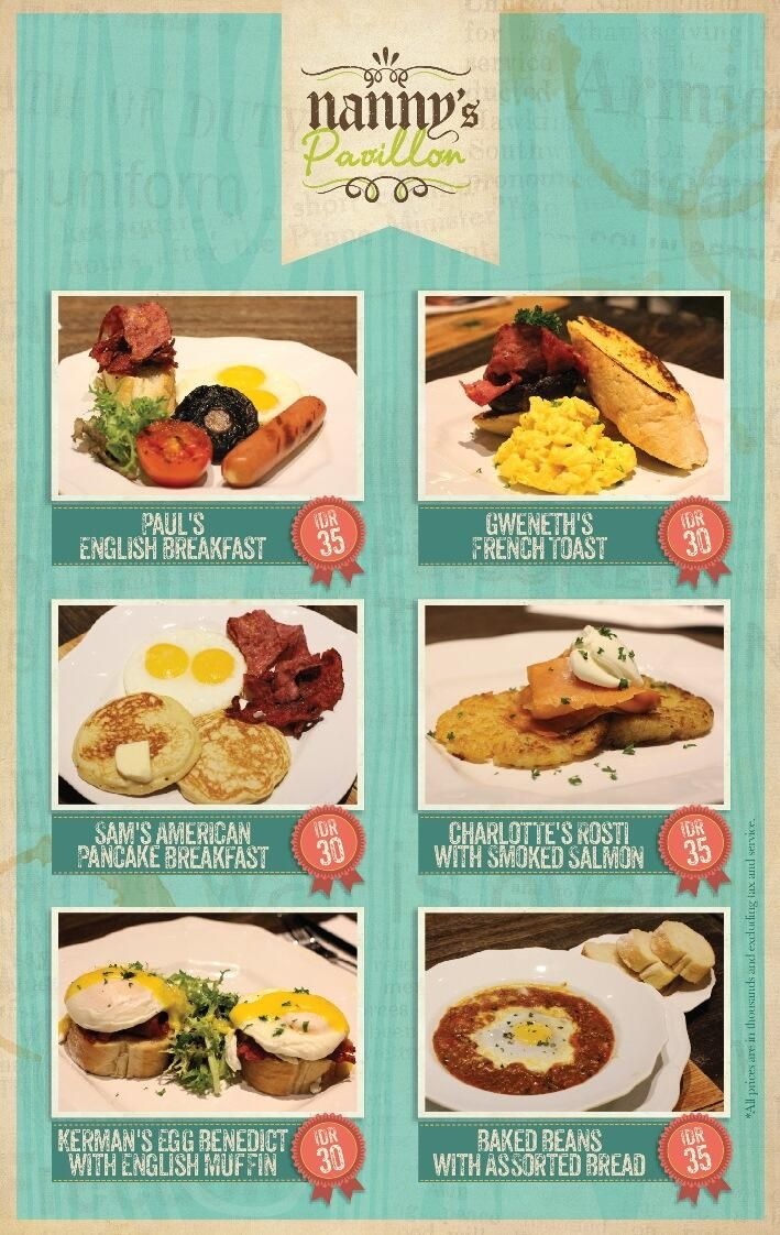 6 new breakfast menu available. Let's start your day with breakfast in Nanny's Pavillon Home, Bandung :)