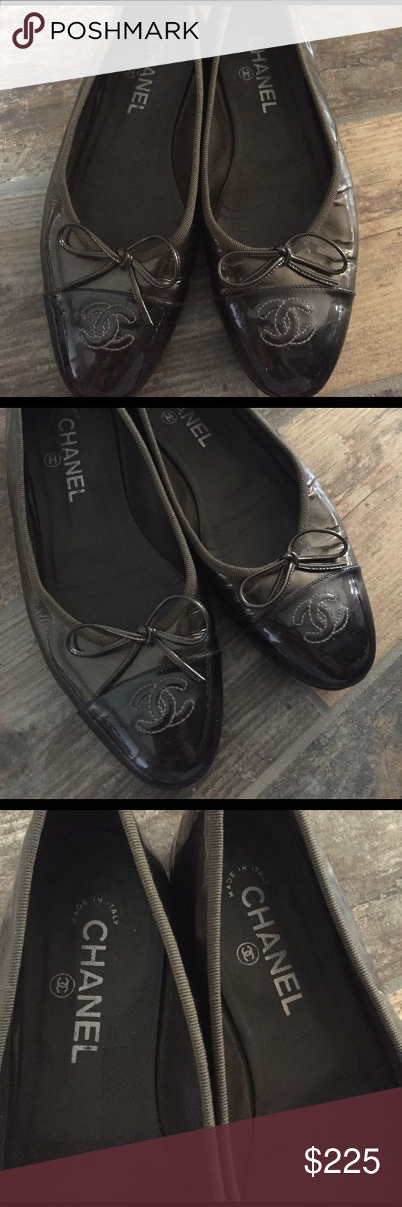 CHANEL Metallic Ballet Flats Authentic Chanel ballet flats, good used condition, some creasing in the patent leather, pewter/dark grey metallic color, size 38.5. These pre-date having model number stamped inside. CHANEL Shoes Flats & Loafers