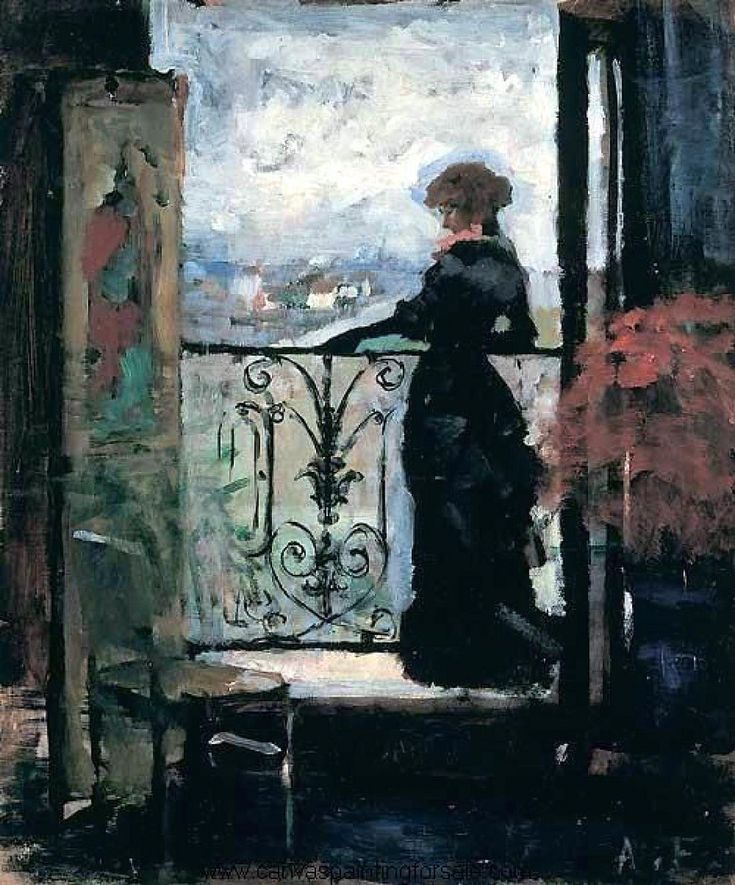 Paintings by Albert Edelfelt - Lady on a Balcony