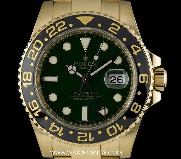 #Rolex 18k Y/G O/P Ceramic Bezel Green Dial #GMTMaster II #Gents #116718LN
