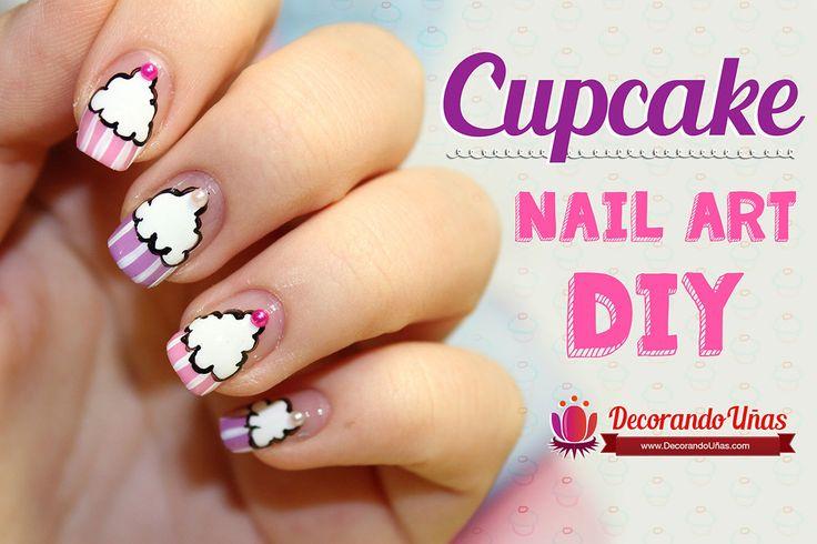 Uñas decoradas con cupcakes – Nail art DIY – Video tutorial paso a paso   Decoración de Uñas - Manicura y Nail Art