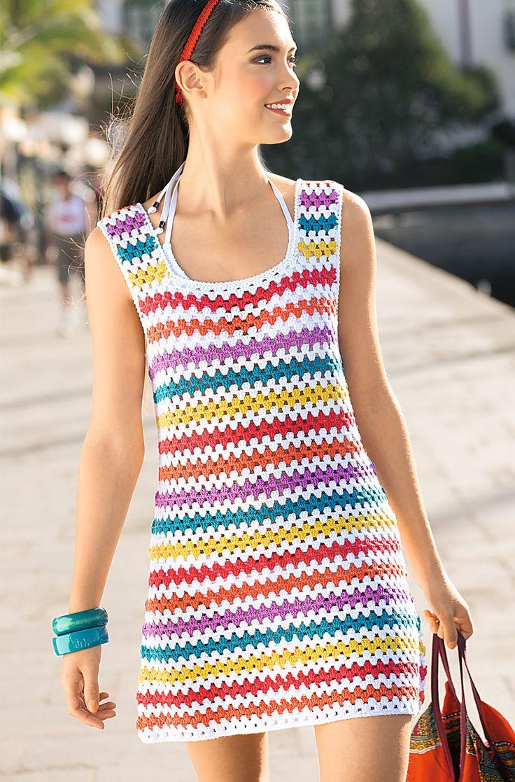 Мини-платье в разноцветную полоску
