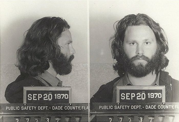 Jim Morrison convicted in 1970 for indecent exposure and open profanity following a 1969 concert at the Coconut Grove in Miami Florida