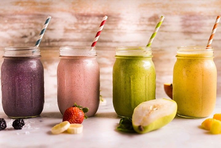 4 High Protein Fruit Smoothie Recipes You Need to Try | Enjoy these 4 easy smoothie recipes - so different and all using the same vanilla protein powder | A Sweet Pea Chef #sponsored
