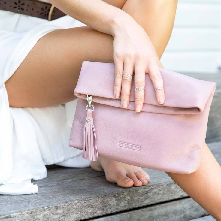 Stitch & Hide | Lily Leather Clutch in Dusty Rose