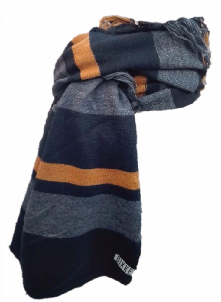 Bikkembergs sciarpa rigata con frange blu senape unisex shop 2017 regalo Natale
