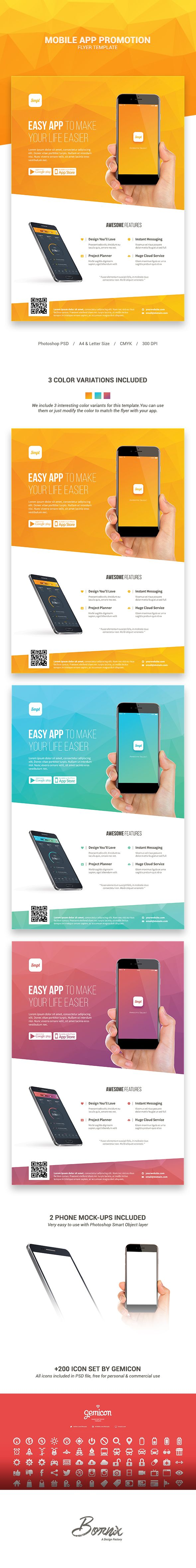 Poster design app - Mobile App Promotion Flyer Template