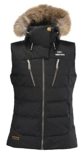 Eider Women's Shibuya DOWN Gilet Jacket  size 12 UK  BLACK skiing real fur