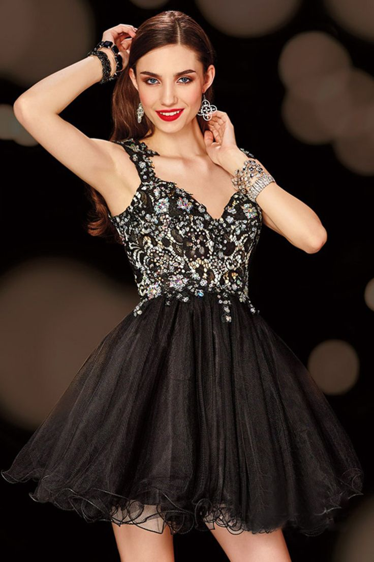 2015 New Arrival Straps Tulle And Lace A Line Short/Mini Homecoming Dress Beaded