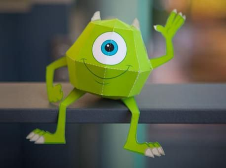 Monsters, Inc. - Mike Wazowski Paper Toy - by Disney Japan        From Disney-Pixar animation Monsters, Inc., here is Mike Wazowski, in a funny paper toy version.