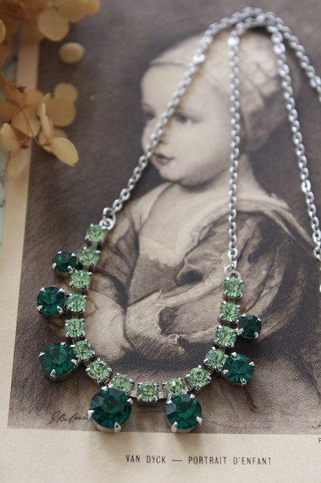 「ヴィンテージ 1950年代 グリーンクリアクリスタルドロップネックレス」ココン・フワット Coconfouato [アンティーク照明&アンティーク家具] アンティークジュエリー ロザリオ ジュエリー シルバー リング ブローチ ネックレス 指輪 --jewelry--