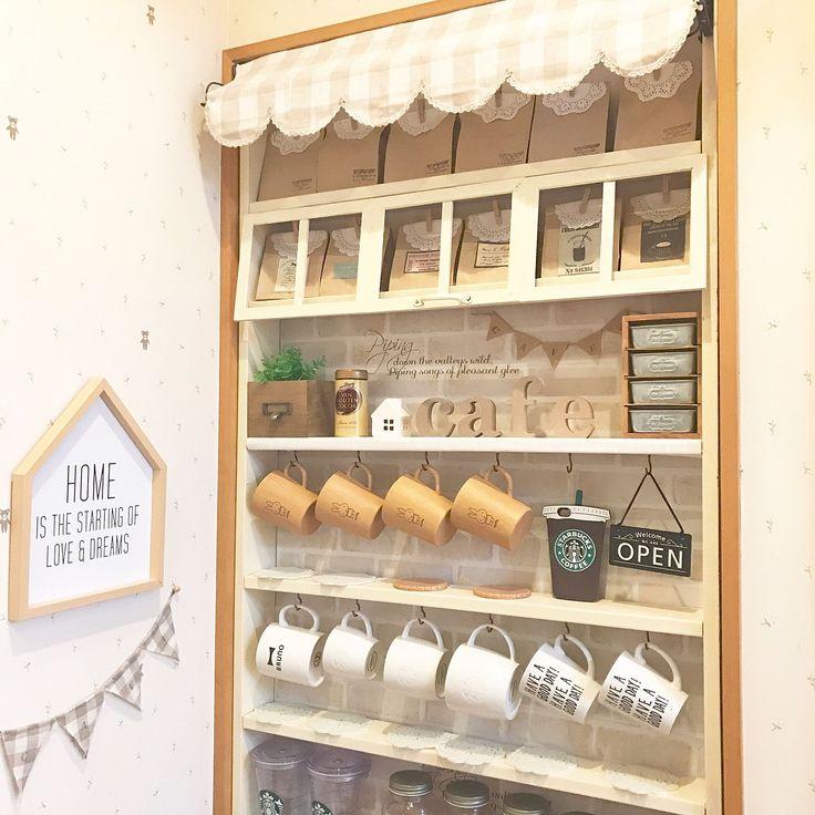 棚 アルフベッドオブジェ Diy棚 Starbucks Coffee ガーランド などのインテリア実例 2017 02 10 08 38 40 Roomclip ルームクリップ Coffee Decor Starbucks Coffee Beans Coffee Wallpaper