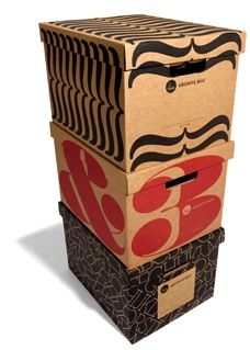 House Industries foldable storage boxes, a charming design made from corrugated cardboard.
