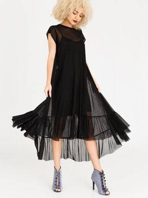 2a54bb9d70f3cc Hi Lo Volume Mesh Dress Black by STYLE REPUBLIC.