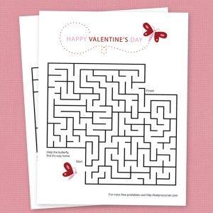 free valentine butterfly maze