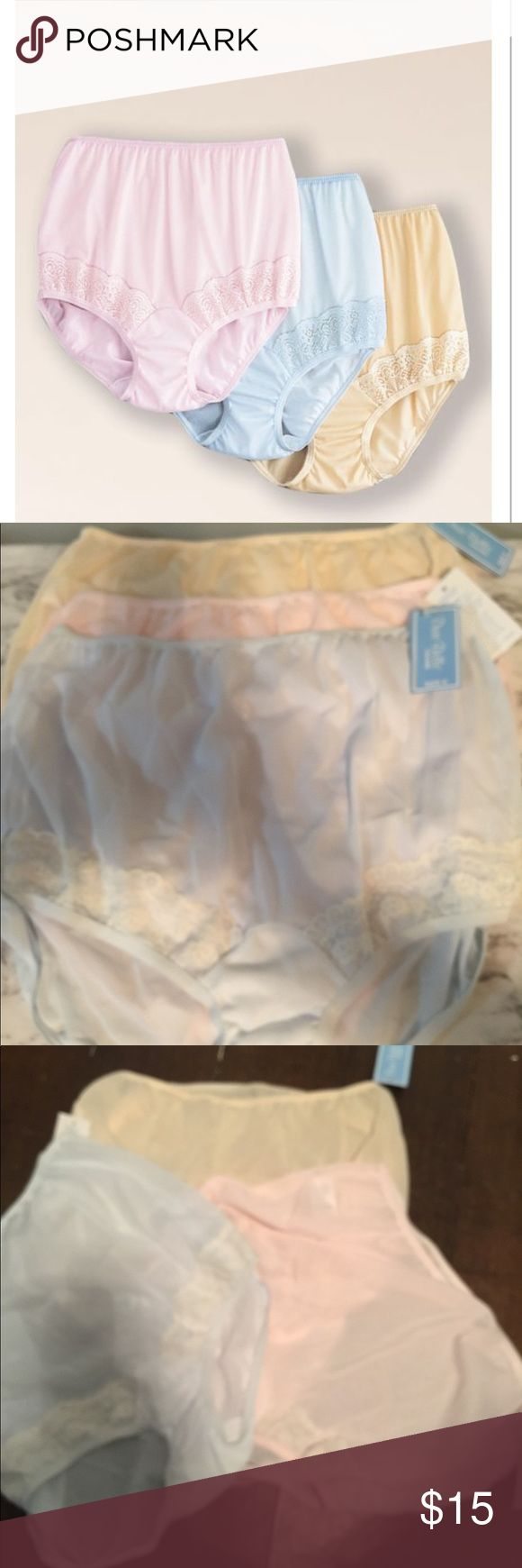 Dixie belle nylon panties. Pastel Trained I Lace with non binding . Encased waist elastic waistband. Cotton lined crotch . Pastel pink , blue, beige . dixie belle Intimates & Sleepwear Panties