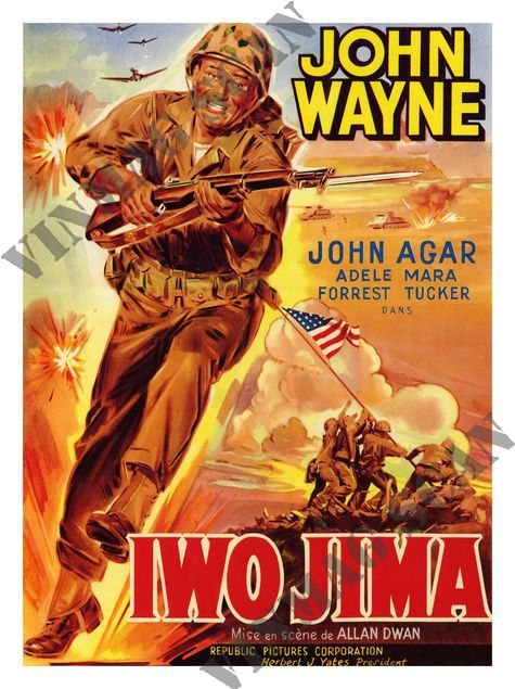 john wayne movies | AP192 - Sands of Iwo Jima, John Wayne, Movie Poster 1949 (30x40cm Art ...