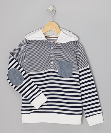 Take a look at this Navy & Cream Stripe Lee Hoodie - Boys by Sovereign Code on #zulily today!