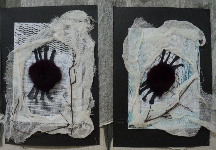 Pavouci - podklad na bílý papír frotáž voskovkami, fáčovina, černá čtvrtka, větvičky, umělá kožešinka