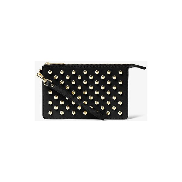 MICHAEL Michael Kors Daniela Medium Studded Leather Wristlet ($128) ❤ liked on Polyvore featuring bags, handbags, clutches, black, leather evening bags, leather handbags, genuine leather purse, wristlet purse and studded leather handbags