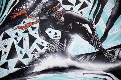 OH YES! 80's style surfing skeleton with wicked cool sunglasses.