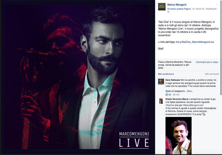 """Il 14 ottobre esce il singolo """"Sai Che,"""", che anticipa l'album """"Mengoni Live"""". E in programma ci sono anche nuove date del suo tour"""