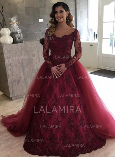 US  410.22  Ball-Gown Tulle Long Sleeves Off-The-Shoulder Chapel Train  Wedding Dresses 741c54f582d6
