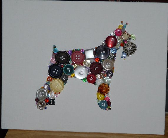 Original one of a kind button/bead art ~ with some crystals added in for extra shine  Cute lil Schnauzer (The one in the photo was made as a