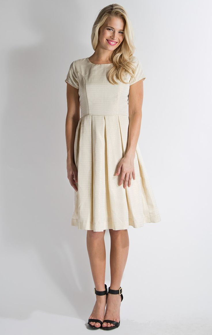 Modest dress websites - Love The Metallic Textured Fabric In This Winter Frolic Modest Dress In Egret