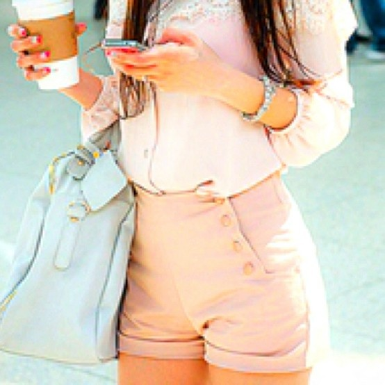 high waisted shortsFashion, Summer Outfit, Style, High Waisted Shorts, Pale Pink, Buttons, Pastel Colors, Bags, High Waist Shorts
