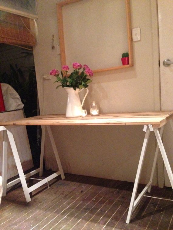 Natural Pine Trestle Table 150cm - with your choice of trestle leg colour on Etsy, $199.00 AUD
