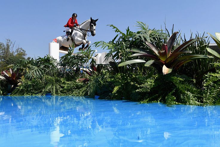 Meredith Michaels-Beerbaum of Germany competes at the Olympic Equestrian Centre.