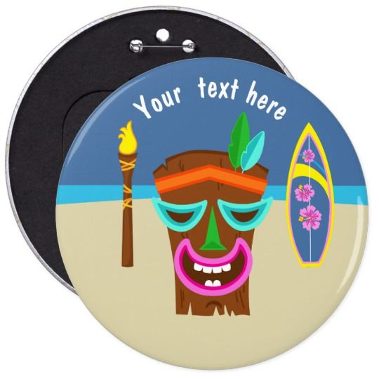 Kids Hawaiian Luau Party Personalized Button