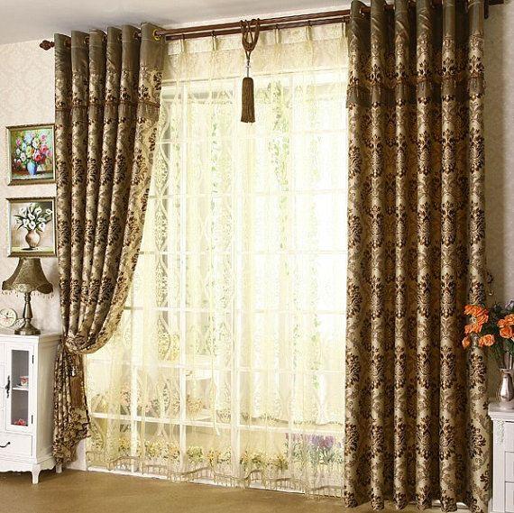 DMHZ1302-057-Damast Jacquard Vorhang und schiere panel