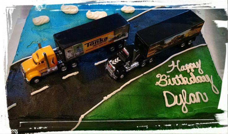 Semi truck birthday cake