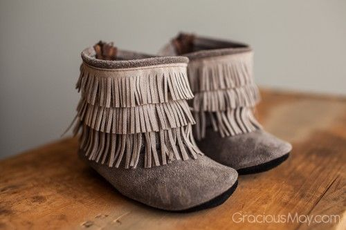 Gracious May is one of our favorite shoe companies! They have adorable fringe handmade moccasin boots! They are a must for every little girl's wardrobe!