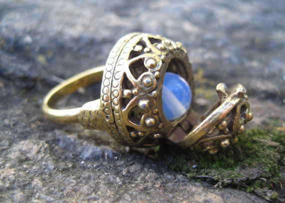Vintage Poison Ring filigree gold wish box by TheWhimsyEmporium, $20.00