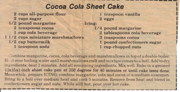 Cocoa Cola Sheet Cake Recipe – Old Newspaper Clipping