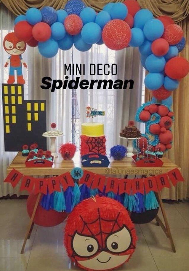 5th Birthday Party Ideas, Superhero Birthday Party, Boy Birthday Parties, Birthday Party Decorations, Marvel Birthday Cake, Baby Spiderman, Mini Party, Mini Pinatas, Spider Man Birthday