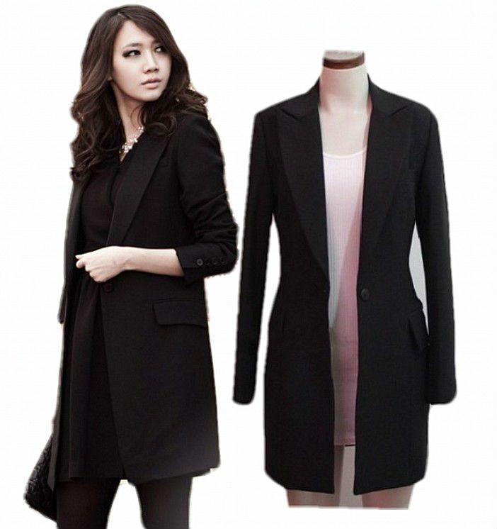 Long Black Blazer Jacket - JacketIn
