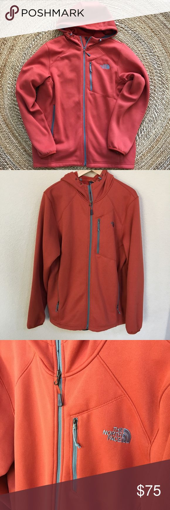 North Face Men's Jacket Great used condition Men's Large North Face Jacket.  Worn maybe once.  This jacket is a rust tone. Jacket has many pockets and hood. North Face Jackets & Coats